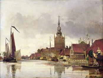 Obraz na plátne View of Overschie near Rotterdam, 1856