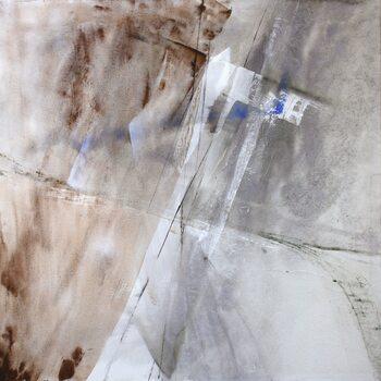 Canvas white composition with a little bit blue