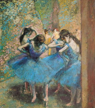 Obraz na plátne Dancers in blue, 1890