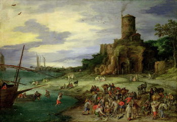 Obraz na plátne Fishermen on the Shore
