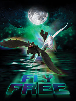How To Train Your Dragon 3 - Fly Free In The Moonlight Canvas