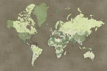 Carta da parati Army green detailed world map, Camo