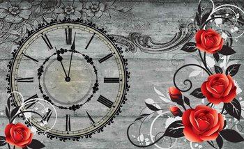 Carta da parati Assi Legno Rose Orologio Vintage