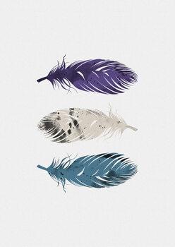 Carta da parati Blue Purple White Feathers