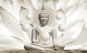 Carta da parati  Buddha Zen con Sfere e Fiore 3D