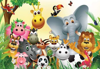 Carta da parati Cartoon Animals Elephant Tiger Cow Pig