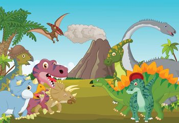 Carta da parati Cartoon Dinosaurs