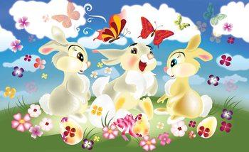 Carta da parati Coniglietti Farfalle Fiori