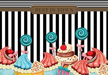 Carta da parati Cupcakes Retro