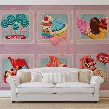 Carta da parati Cupcakes Rosa Rétro