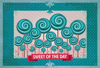 Carta da parati Cupcakes Turquoise Retro