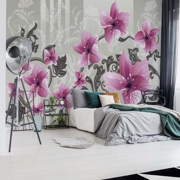 Carta da parati Floral Pattern With Swirls