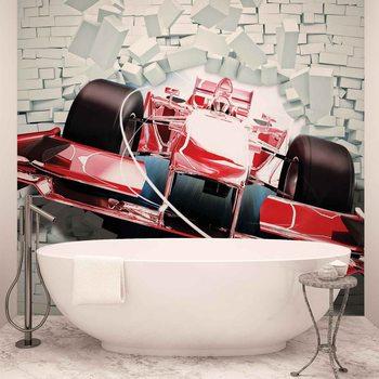 Carta da parati Formula 1 Auto da Corsa Muro in Mattoni