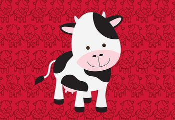 Carta da parati Happy Cartoon Cow