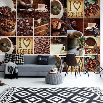 Carta da parati I Love Coffee Squares