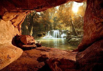 Carta da parati Lake Forest Waterfall Cave