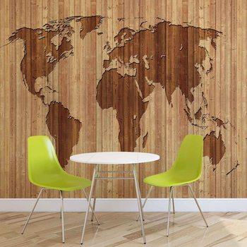 Carta da parati Mappa del Mondo Legno