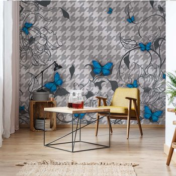 Carta da parati Modern Blue Butterflies Design