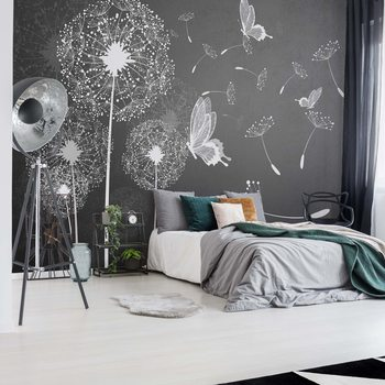 Carta da parati  Modern Dandelions And Butterflies Grey And White