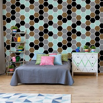 Carta da parati Modern Hexagonal Pattern