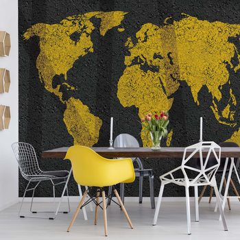 Carta da parati Modern World Map Grunge Texture