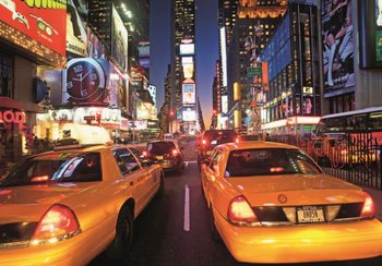 Carta da parati New York - Times Square Taxi