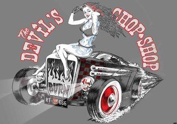 Carta da parati Old School Auto Diabolica con Ragazza