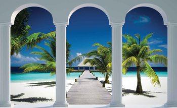 Carta da parati  Paradiso Tropicale Veduta Spiaggia da Veranda