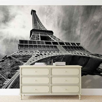 Carta da parati Paris Eiffel Tower Black White
