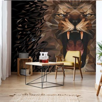 Carta da parati  Polygon Lion Dark Colours