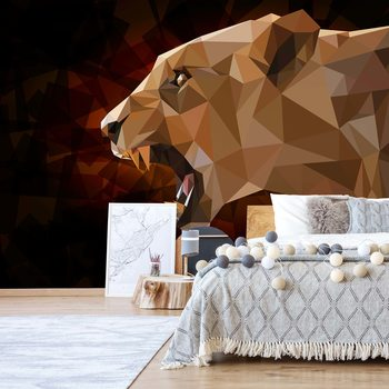 Carta da parati  Polygon Lioness Dark Colours