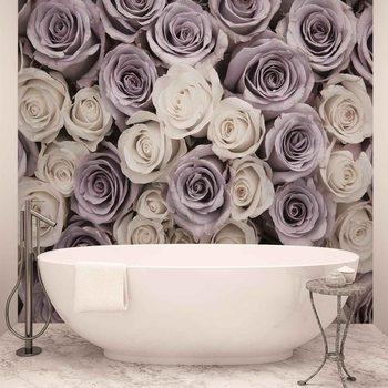 Carta da parati Rose Fiori Bianco Viola