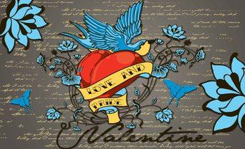 Carta da parati Tatuaggio Old School Cuore Rondine