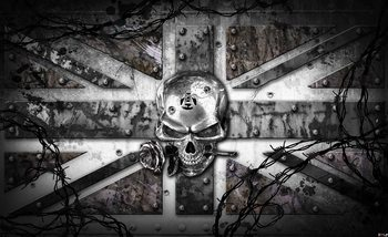 Carta da parati Tatuaggio Teschio Old School con Union Jack