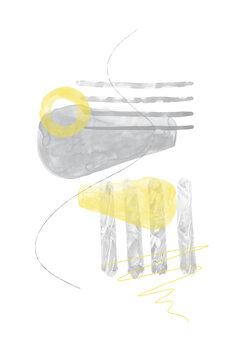 Carta da parati Watercolor Shapes No. 3   Illuminating Yellow & Ultimate Grey