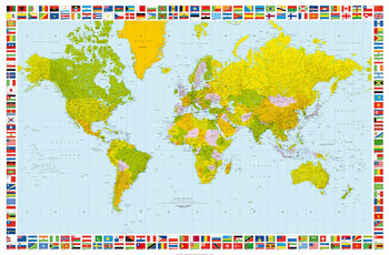 Carta da parati World Map - Political