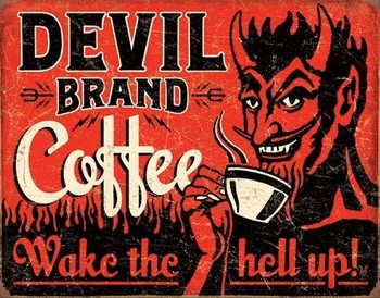 Cartel de metal Devil Brand Coffee