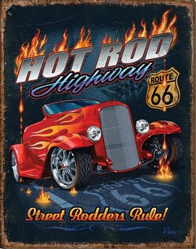 Cartel de metal Hot Rod HWY - 66