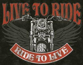 Cartel de metal Live to Ride - Bike