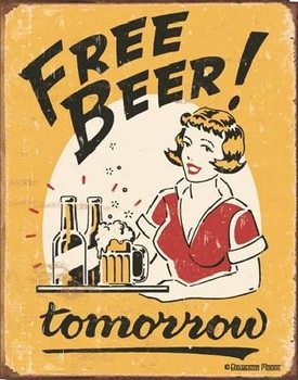 Cartel de metal MOORE - free beer