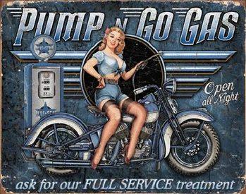 Cartel de metal PUMP N GO GAS