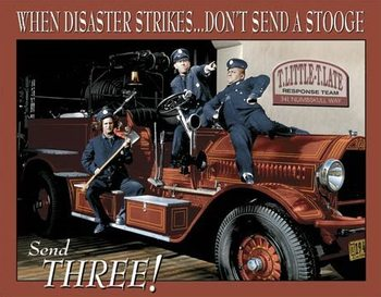 Cartel de metal Stooges Fire Dept.