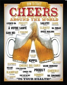 Cartel de metal BEER - Cheers Around The World