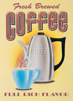 FRESH BREWED COFFEE Carteles de chapa