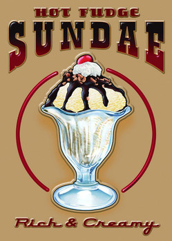 HOT FUDGE SUNDAE Carteles de chapa