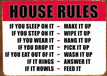 HOUSE RULES Carteles de chapa