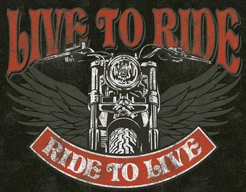 Cartel de metal Live to Ride - Bike