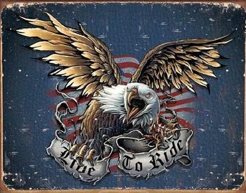 LIVE TO RIDE - eagle Carteles de chapa