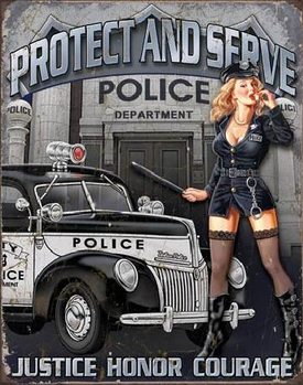 POLICE DEPT - protect & serve Carteles de chapa