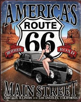 Cartel de metal ROUTE 66 - America's Main Street